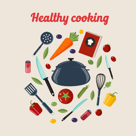 Kitchen Healthy Cooking Concept with Different Vegetables and Cutlery. Vector illustration in flat style