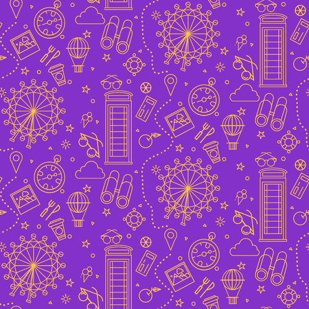 travel phone: London Seamless Pattern with London Eye, Phone Box and Travel Elements. Vector illustration in outline style