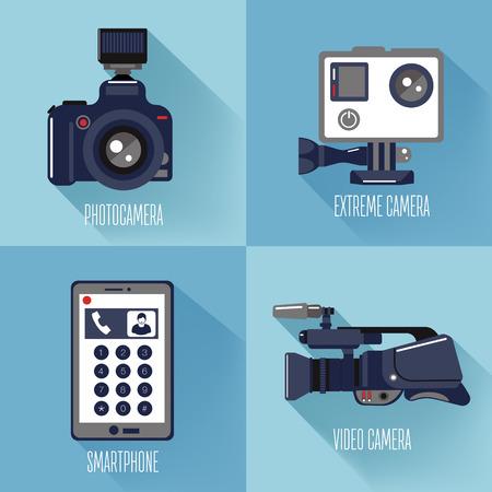 Technologies modernes Caméra photo et vidéo professionnelle, appareil photo extrême et téléphone intelligent. Illustration vectorielle dans le style plat Vecteurs