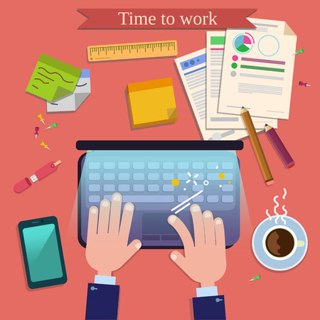 office accessories: Time to Work. Modern Workplace Top View on Desk with Laptop and Office Accessories. Vector illustration in flat style Illustration