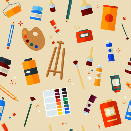 painter cartoon: Tools and Materials for Creativity and Painting Seamless Pattern. Flat Style in Vector