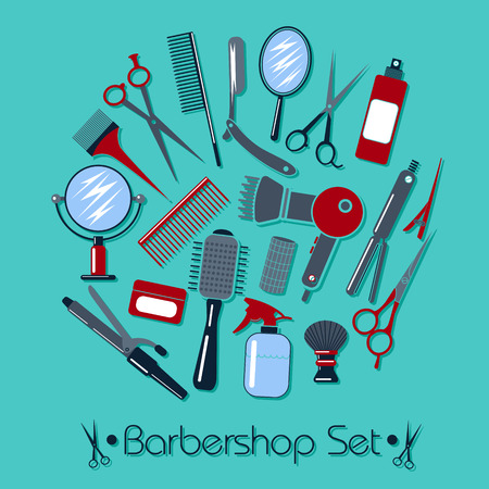 sign pole: Barber and Hairdresser Tools Set. Vector illustration in flat style