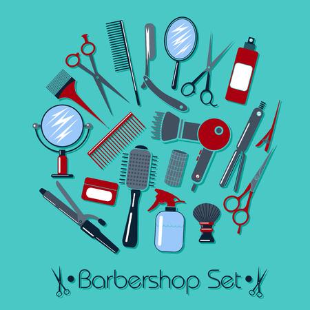 barbershop pole: Barber and Hairdresser Tools Set. Vector illustration in flat style