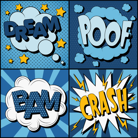 bam: Set of Comics Bubbles in Vintage Style. Expressions Dream, Poof, Bam, Crash. Vector illustration Illustration