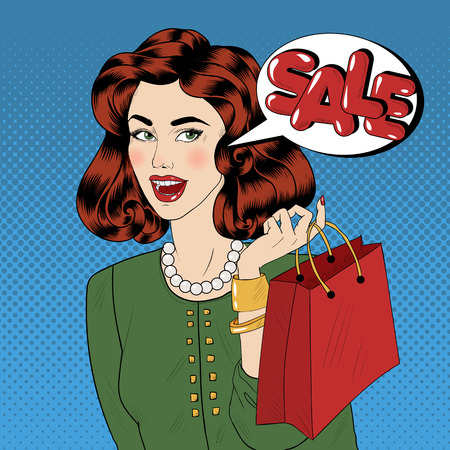 Pop art Style Sale banner. Vintage Girl with Shopping Bags in Comics Style. Vector illustration Illustration