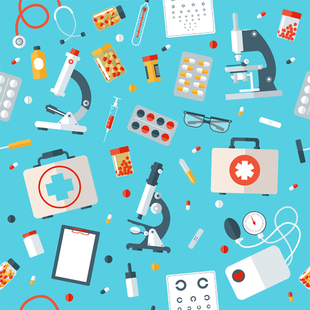 stuff: Medical Tools Seamless Pattern. Health Care Stuff Vector Background