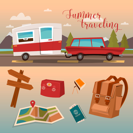 family van: Family Vacation Time. Active Summer Holidays by Camper. Vector illustration