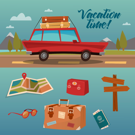 family vacation: Family Vacation Time. Active Summer Holidays by Car. Vector illustration