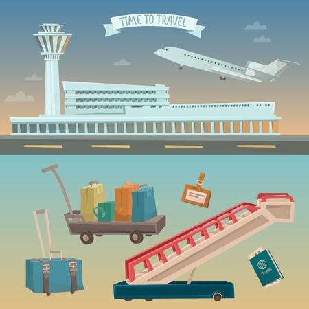 airport cartoon: Time to Travel by Airplane. Airport with Plane and Different Travel Elements. Vector illustration Illustration