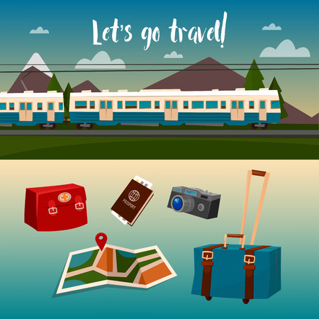 baggage train: Time to Travel by Train. Vector illustration
