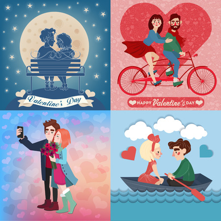 cheerful cartoon: Valentines Day Cards Set with Young Happy Couple. 4 Cards in Romantic Style