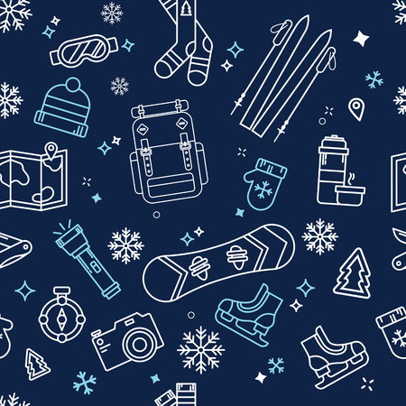 cold pack: Seamless Winter Adventure Pattern with Winter Vacation Elements. Vector illustration in outline style
