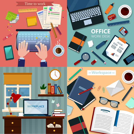 office accessories: Time to Work. Modern Workplaces at Office and Home with Laptop and Office Accessories. Vector illustration in flat style