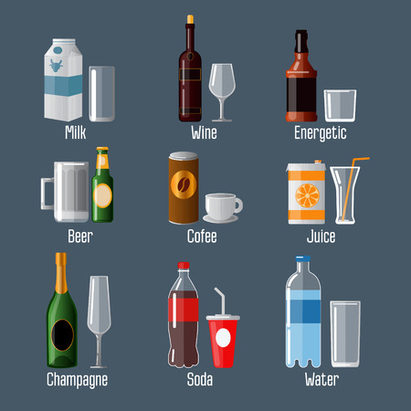 bar ware: Set of Different Drinks in Ware. Vector illustration Illustration