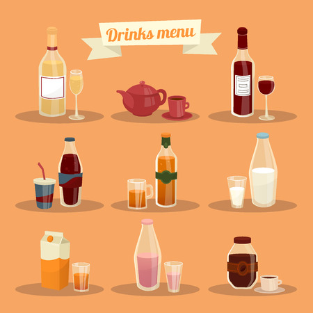 ware: Set of Different Drinks in Ware. Vector illustration Illustration