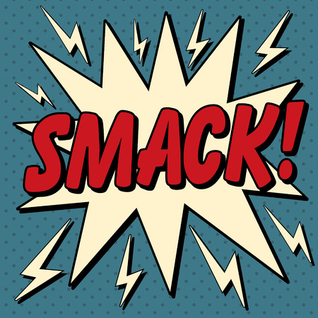 smack: Comic Bubble in Pop Art Style with Expression Smack. Vector illustration in vintage style