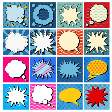 Big Set of Comics Bubbles in Pop Art Style. Vector illustration Vectores
