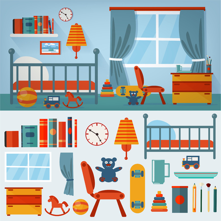 playroom: Children Bedroom Interior with Furniture and set of Toys. Vector illustration in flat style Illustration