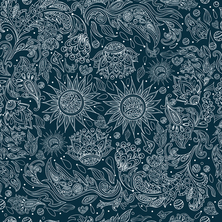 ethno: Seamless Ethnic Tribal Pattern with Flowers. Vector background