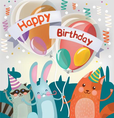 fiesta familiar: Tarjeta de felicitaci�n del feliz cumplea�os con los animales lindos para el partido de los ni�os. ilustraci�n vectorial