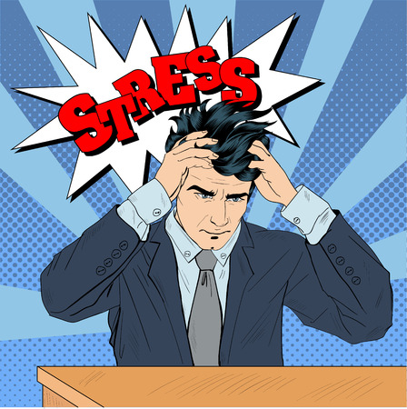 Stressed Man at Work in Pop Art Style. Vector illustration in comics style Vectores