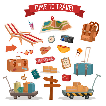 summertime: Time to Travel. Set of Holidays Summertime Elements with Baggage, Swimming Accessories and Map. Vector illustration