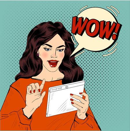 手でタブレットを持つ女性と表現すごいバブルを驚かせた。ポップなアート スタイルのベクトル図