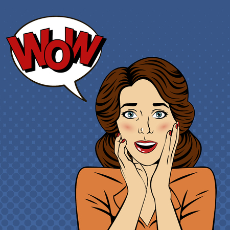 wow: Mujer sorprendida con la burbuja y Expresión Wow en Comics estilo. ilustración vectorial Vectores