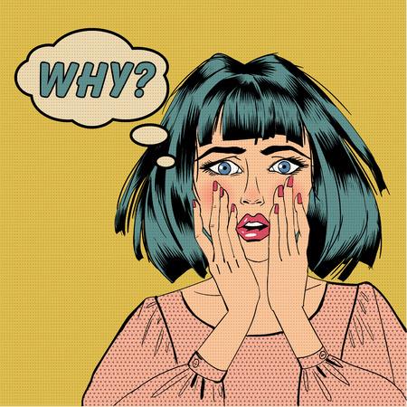 Sorpreso donna scioccata con bolla ed espressione perché in stile pop art. Stile di fumetti illustrazione vettoriale