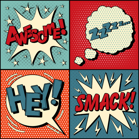 Set of Comics Bubbles in Pop Art Style. Expressions Awesome, Hey, Smack, Zzz. Vector illustration in vintage style Vectores