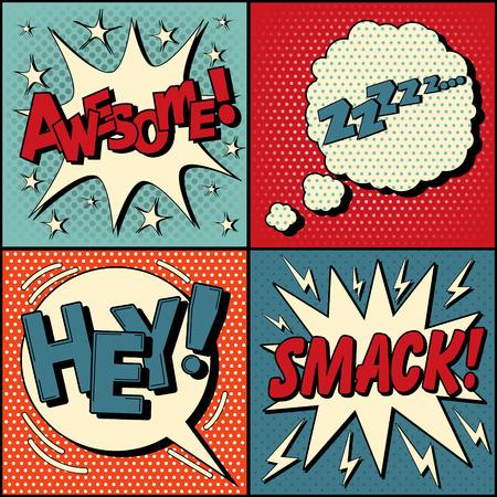 historietas: Conjunto de burbujas de cómics en el estilo del arte pop. Expresiones impresionante, Hey, Smack, Zzz. ilustración vectorial de estilo vintage
