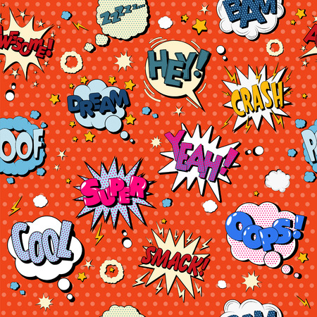 text bubble: Comics Bubbles Seamless Pattern in Pop Art Style. Vector illustration