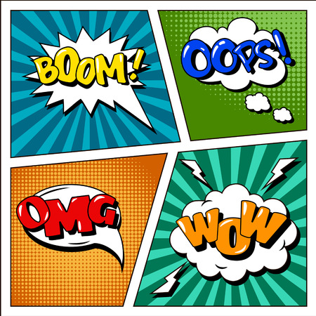 Set of Comics Bubbles in Pop Art Style. Expressions Boom, Wow, Oops. Vector illustration