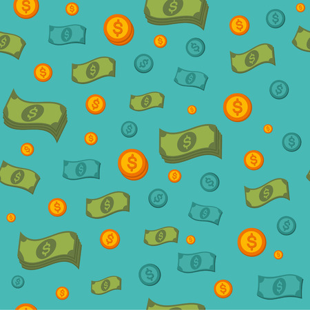 dollar sign icon: Money Seamless Pattern with Coins and Banknotes. Vector background in flat style