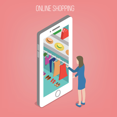 smart phone woman: Online Shopping Concept in Isometric Style. Woman with Smart Phone. Vector illustration