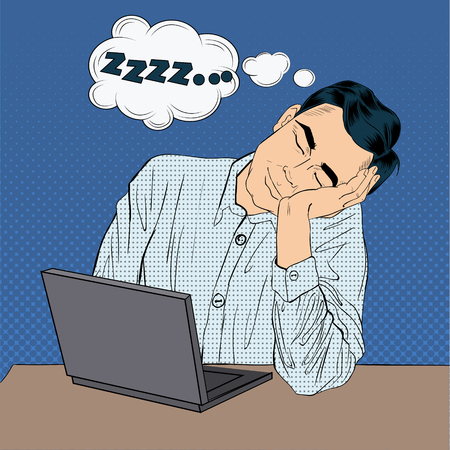 tired businessman: Tired Sleeping Businessman at Work. Pop Art Style Man with Laptop. Vector illustration Illustration