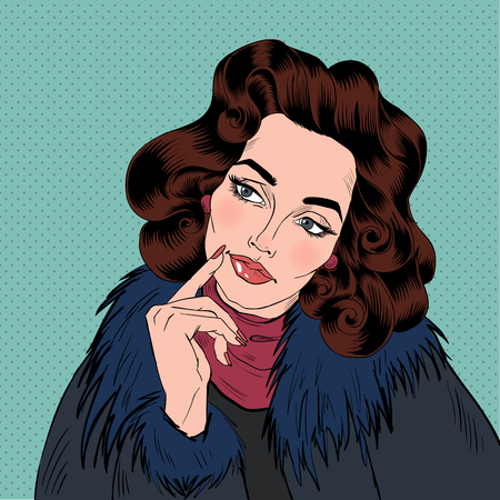 woman dreaming: Beautiful Woman in Pop Art Comics Style. Dreaming about something. Vector illustration