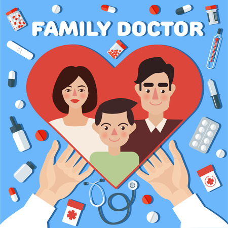Family Doctor Concept Banner. Hands with Heart. Vector illustration in flat style