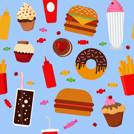 hot drink: Fast Food Seamless Pattern with Sweets, Candies, Cupcakes and Burgers. Vector illustration in flat style
