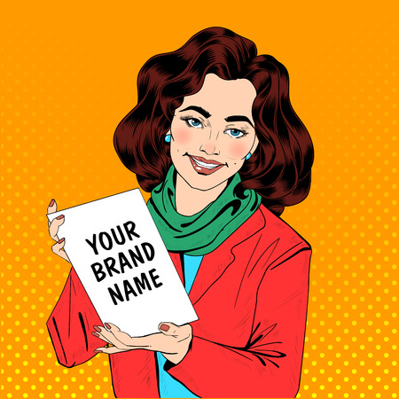 promoter: Girl in Pop Art Style Holding Banner for Your Text or Logo. Vector illustration Illustration