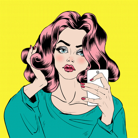 smart girl: Attractive Girl in Pop Art Style is Doing Selfie with Smart Phone. Vector illustration
