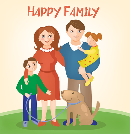 child couple: Happy Family - Parents with Kids and Dog. Vector illustration Illustration