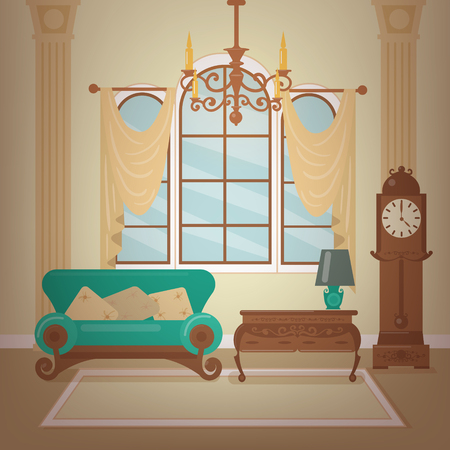 Classic Home Interior of Living Room with a Chandelier and Vintage Clocks. Home Sweet Home. Vector illustration in flat style Illustration