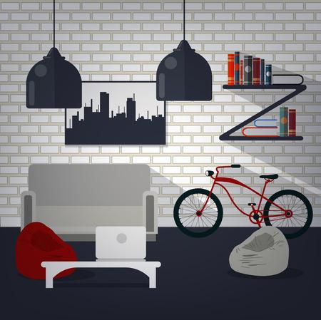 Interior de la casa moderna de la sala de estar con la bicicleta, libros y portátil. Hogar dulce hogar. Ilustración del vector en estilo plano Foto de archivo - 52074495