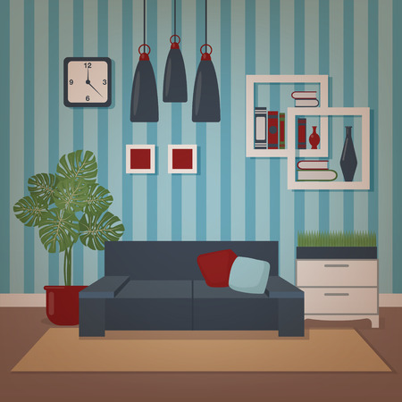 Modern Home Interior of Living Room with Sofa and Flowers. Home Sweet Home. Vector illustration in flat style Illustration