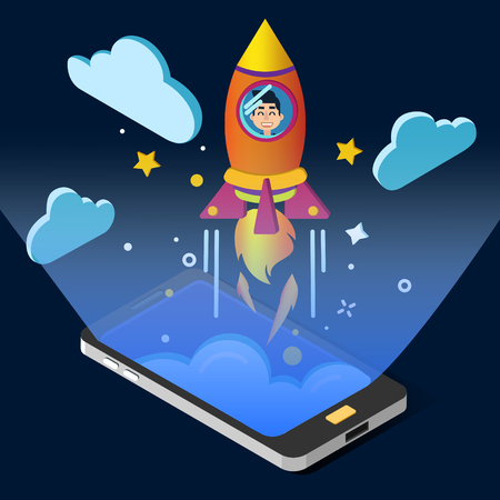 achievment: Business Project Start Up Concept. Isometric Design with Smart Phone and Rocket. Vector illustration