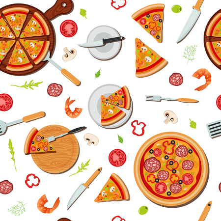 Pizza Seamless Pattern with Ingredients. Vector illustration