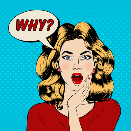 Surprised Woman with Bubble and Expression Why in Pop Art Style. Vector illustration