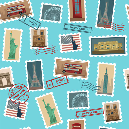 postage stamps: Travel Postage Stamps Seamless Pattern: USA, New York, London, Paris. Vector illustration