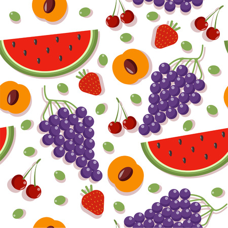 apricot: Seamless Patterns with Different Berries and Fruits: Cherry, Apricot, Strawberry, Watermelon and Grapes. Vector illustration in flat style